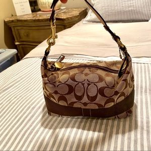 New Coach Compact Brown Monogram Hobo Shoulder Bag